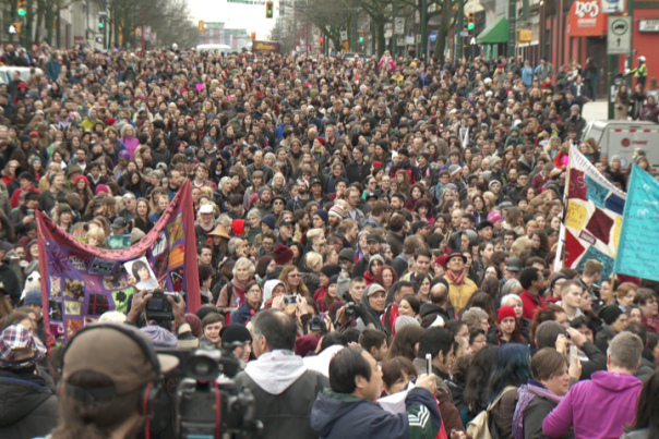 An estimated 1,200 people participated in the 25th annual Women's Memorial March in Vancouver, BC.