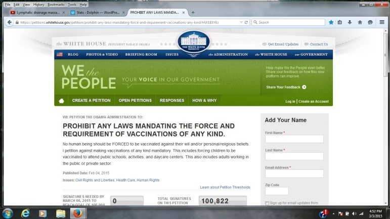 Petition.Against.Forced.Vaccinations.3.3.2015 100k signatures