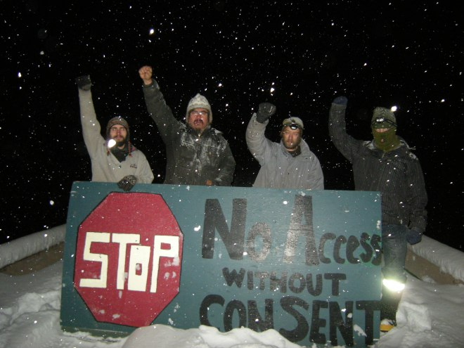 Unist'tot'en camp members stop surveyors, November 2012.