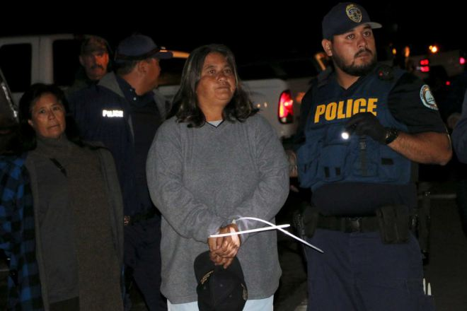 Some of those arrested on Sept 9, 2015 in Mauna Kea, Hawaii. Photo: SF Chronicle.